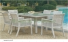 White color outdoor dining table chairs furniture supplier