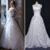 ALBIZIA White Beading Bow Pleated Strapless Lace A Line Brida Gown Organza Sweep/Brush Wedding Dresses