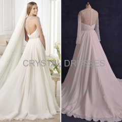 ALBIZIA Exquisite Chiffon Tulle Beading Long unique Chiffon Sweep/Brush A Line Wedding Dresses