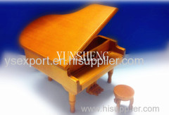 Top Quality China Handmade Wooden Natural Grand Piano Shaped Music Box Christmas Gift Birthday Gift