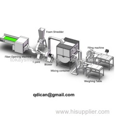 Shredded foam ball fiber feather down blending and filling machine