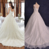 ALBIZIA Beads Ivory Scoop Lace Organza Ball Gown Applique Sweep/Brush Wedding Dresses