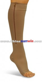 Zipper Compression Socks Zip Leg Support Knee Stockings Sox Open Toe As Seen On TV