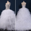 ALBIZIA Gorgeous Beading Fluffy Skirt Sweetheart Crystal Tulle Ball Gown Layered Sweep/Brush Bridal Wedding Dress