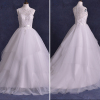 ALBIZIA Embroidery Beads Scoop Tulle A Line Ball Gown Layered Sweep/Brush Wedding Dresses