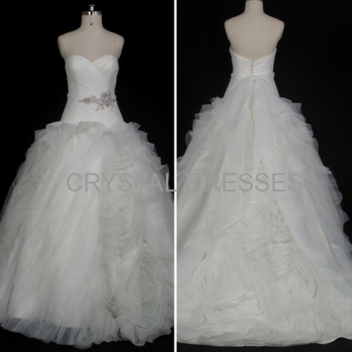 ALBIZIA Intricate Pleated Ivory Sweetheart Organza Fluffy Skirt Ball Gown Fold\Ruffle Wedding Dresses