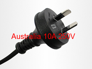 Australia SAA Approval Three Pins 250V 15A Power cord