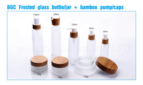 frosted glass bottle with bamboo cap pump sprayer