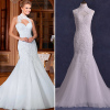 ALBIZIA Gorgeous Beading Ivory High Collar Lace Tulle with Jacket beautiful Mermaid Wedding Dresses