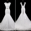ALBIZIA Simple Ivory Scoop Lace Tulle V-Back modest Mermaid Wedding Dresses