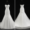 ALBIZIA Simple Ivory Lace Tulle Applique Beads Long Mermaid Wedding Dresses