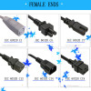 IEC connector female end AC power cord