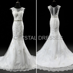 ALBIZIA High Quality Ivory Lace Beads Tulle Applique monsoon Long Mermaid Wedding Dresses