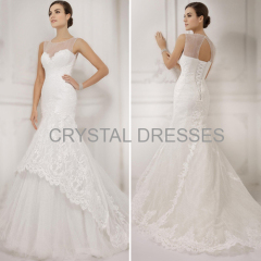 ALBIZIA Fashion Ivory Lace Bateau Tulle Sweep/Brush Wedding Mermaid Dresses