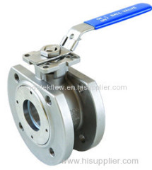 1PC DIN WAFER FLANGED BALL VALVE WITH MOUNTING PAD AND LOCKING HANDLE.