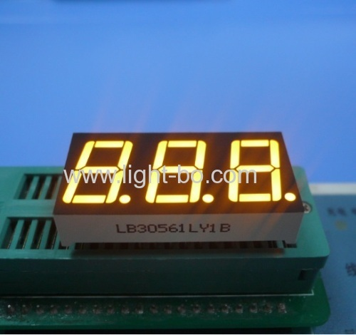 Ultra bright yellow / Amber Common Cathode 0.56 inch 3-digit LED Display for Instrument Panel