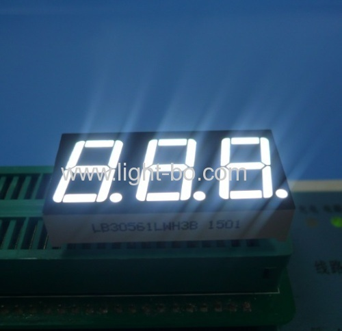 "Ultra Bright White Triple Digit 0.56"" 7 Segment LED Display common cathode for Instruments"