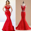 ALBIZIA popular Red Lace Beading Satin Mermaid Long Prom Dresses