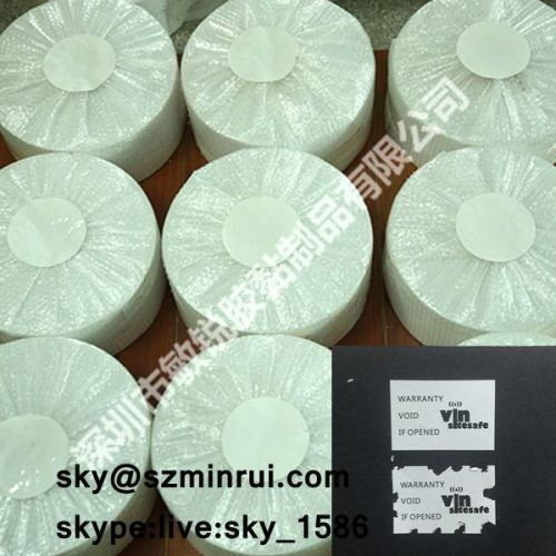 Quality Ensure Self Adhesive Eggshell Sticker Material Matte White Destructible Vinyl Label Paper Roll