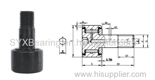 Stud type cam followers in inch dimensions with seals. Full complement needle