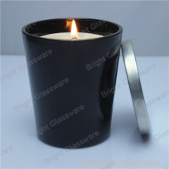 Black scented natural soy glass candle holder and metal lid