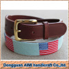 AIMI hot sale 100% handmade flag Needlepoint belt with genuine leather belt