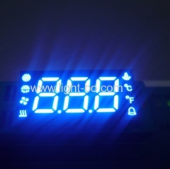 Custom ultra blue triple digit 7 segment led display for temperature humidity defrost compressor fan status indicator