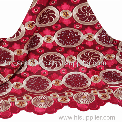 High quality african swiss voile lace fabric embroidery colorful stones water soluble chemical lace fabric for wedding