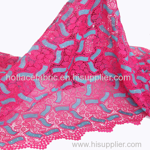 Unique design embroidered rhinestones nigerian lace fabric high quality guipure cord lace
