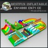 Amusement park giant inflatable slide obstacle course combo