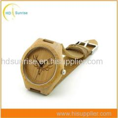 New Fashion Wooden Wrist Watch Men's Bamboo Watch with Leather Strap