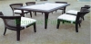 Rattan garden dining set furniture with white cushions
