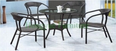Brown color new pe rattan dining table chair set