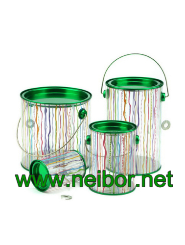 Clear Cylindrical PVC PET bucket plastic pail with tin lid and bottom paint can bucket