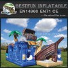 Pirate ship and treasure chest inflatable obstacle combo