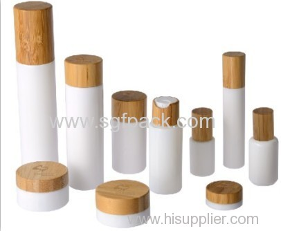 150ml white glass bottle bamboo cap