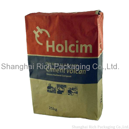 china supplier brown kraft paper bag 25kg cement paper bag