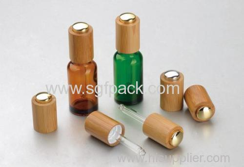 bamboo press pump dropper glass oil bottle 100ml glass bottle dropper