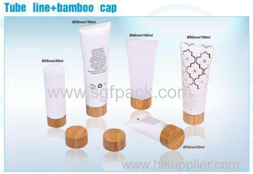 35mm tube with bamboo cap cosmetic plastic tube