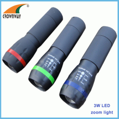 1W Led ABS durable torch 80Lumen high power 3*AAA battery zoomble light weight hand torch CE RoHS approval