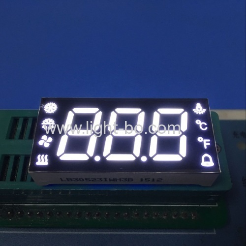 Custom ultra white three digit seven segment led display common anode for temperature humidity defrost compressor fan