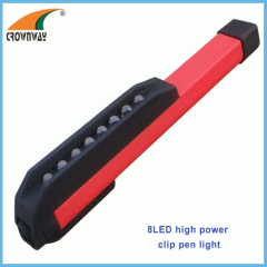 8LED pen light 3*AAA battery doctor light clip pocket light hand torch flashlight ABS durable 15M000MCD super bright