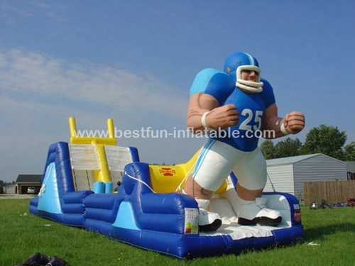 Rugby football player sports game inflatable obstacle course
