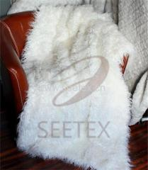 Mongolian lamb faux fur throw