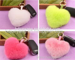 Handmade rex rabbit fur keychain heart shaped bag and key ring accessory