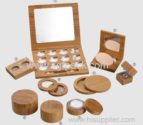 Bamboo round powder case and powder puff