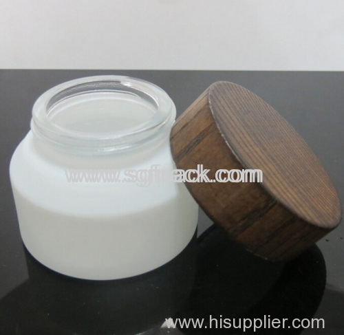 Glass bottle jar with ASH Wooden cap Pump Screw cover