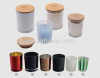 candle jar with wooden bamboo cap glass material multi-colored rubber wood