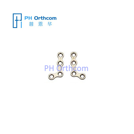 Titanium Mini L-shaped Plate 110° for Maxillofacial Surgery thickness 1.0mm 4 holes without bridge
