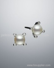 Sterling Silver Earring 6mm Cable Pearl Stud Earrings